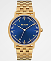 Nixon Porter All Gold & Blue Sunray Analog Watch