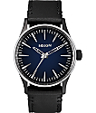 Nixon Sentry 38 Leather Ombre Black & Blue Watch