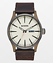 Nixon Sentry 42 Leather Bronze & Gunmetal Watch