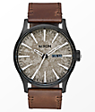 Nixon Sentry Leather Black & Concrete Analog Watch