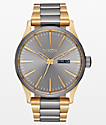Nixon Sentry SS Gunmetal & Gold Analog Watch