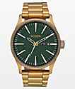 Nixon Sentry SS Palm Green reloj analógico en verde y latón