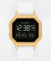 Nixon Siren SS Gold & White Rubber Digital Watch