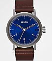 Nixon Stark Leather Blue Sunray & Brown Watch