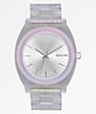 Nixon Time Teller Acetate Clear, Silver, & Rainbow Analog Watch