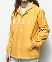 Obey Anyway chaqueta amarilla estilo entrenador con capucha