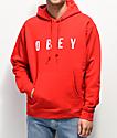 Obey Anyway sudadera con capucha roja y blanca