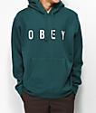Obey Anyway sudadera con capucha verde azulada