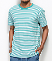 Obey Apex Teal & White Striped Knit T-Shirt