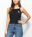 Obey Ava Slauson Rose Black Crop Tank Top