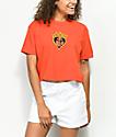 Obey Be Mine camiseta naranja corta con cuello simulado