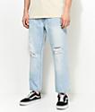Obey Bender 90s Destroyed Cropped Light Blue Jeans