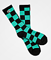 Obey Checkers Teal Crew Socks