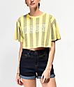 Obey Gig Acid Yellow Striped Crop T-Shirt