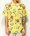 Obey Kane camisa amarilla de manga corta floral