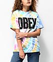 Obey Mom Jeans Rainbow Tie Dye T-Shirt