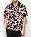 Obey Nate Pink & Black Short Sleeve Button Up Shirt