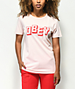 Obey New World camiseta en rosa claro