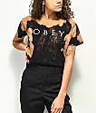 Obey Novel 2 camiseta negra blanqueada
