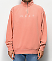 Obey Novel Dusty Rose Quarter Zip Sweatshirt