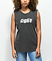 Obey Overgrown Washed Black Muscle Tank Top