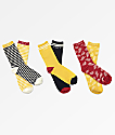 Obey Ray Yellow 3 Pack Crew Socks