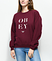 Obey See Clearly Burgundy Crew Neck Sweatshirt