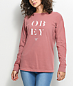 Obey See Clearly Dusty Rose Long Sleeve T-Shirt