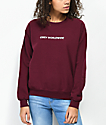 Obey Static Worldwide Burgundy Crew Neck Sweatshirt