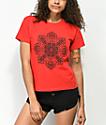 Obey Stop The Violence Mandala Red Shrunken T-Shirt