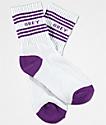 Obey Taylor White & Purple Crew Socks