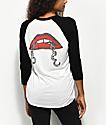 Obey Tough Love Black & White Raglan T-Shirt