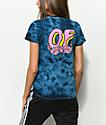 Odd Future OF Donut Rose camiseta azul marino con efecto tie dye