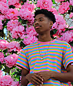 Odd Future OF Pink, Blue & Yellow Striped T-Shirt