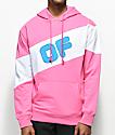 Odd Future Sport sudadera con capucha estilo colorblock en rosa y blanco