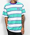 Odd Future camiseta de rayas verde azulado, morado y blanco