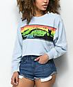 Op Wave Curl Light Blue Long Sleeve Crop T-Shirt