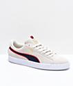 PUMA Classic Sport Stripes zapatos de ante blanco y rojo