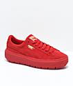PUMA Suede Platform Trace VD Red Shoes