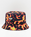 Petals & Peacocks Flames Black & Orange Bucket Hat