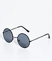 Petals & Peacocks Mathilda Black & Black Round Sunglasses