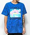 Pink Dolphin Bound Portrait camiseta azul con efecto tie dye