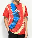 Pink Dolphin Wave Block Multi Tie Dye T-Shirt