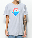 Pink Dolphin Wave Puff Print Grey T-Shirt