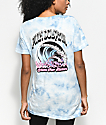 Pink Dolphin Waves Flames Blue Tie Dye T-Shirt