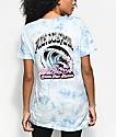 Pink Dolphin Waves Flames camiseta azul con efecto tie dye