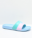 Pink Dolphin Waves Two Tone Blue Slide Sandals