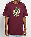 Primitive Classic P Rosebud camiseta en color  borgoño