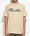 Primitive Nuevo Script camiseta en color arena