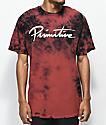 Primitive Nuevo camiseta con efecto tie dye en rojo de ladrillo y negro